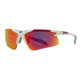 Pro Half-Rim Athletic Wrap Sunglasses with Red RV Mirror Lenses