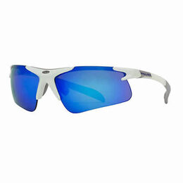 Pro Half-Rim Athletic Wrap Sunglasses with Blue RV Mirror Lenses