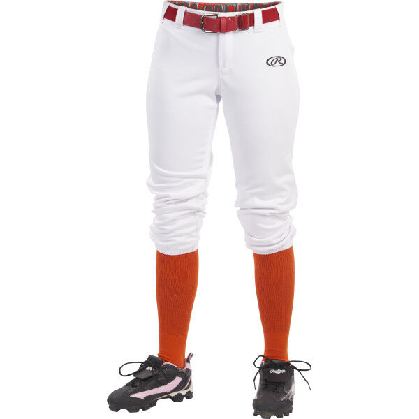 Girl's Low-Rise Softball Pant White