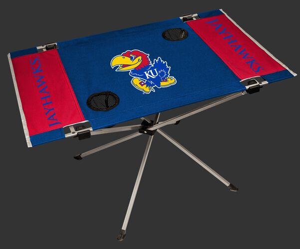 NCAA Kansas Jayhawks Endzone table in team colors with a team logo in the middle and two cup holders SKU #04053034111