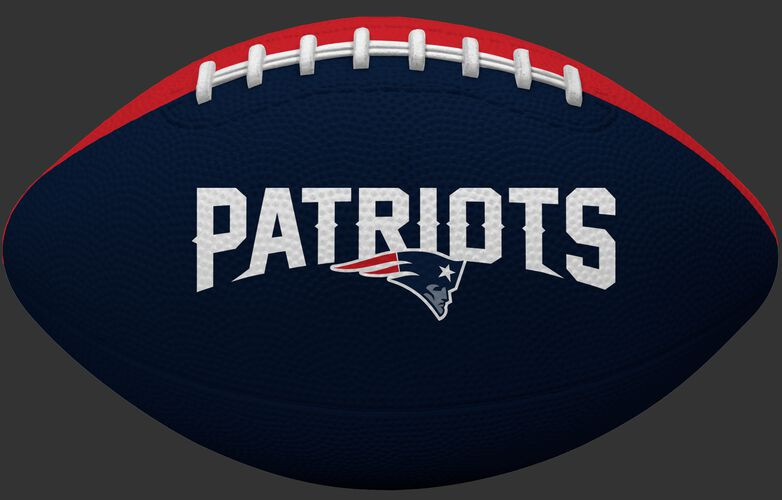 Navy blue side of a NFL New England Patriots Gridiron tailgate football with team name SKU #09501076121