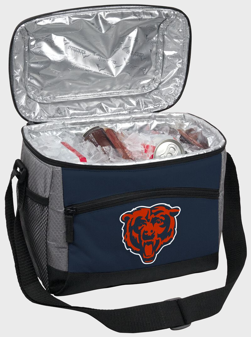An open Chicago Bears 12 can cooler with ice and drinks