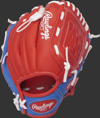 Back view of a PL91SR 9-inch Players Series glove with a scarlet back and royal blue trim