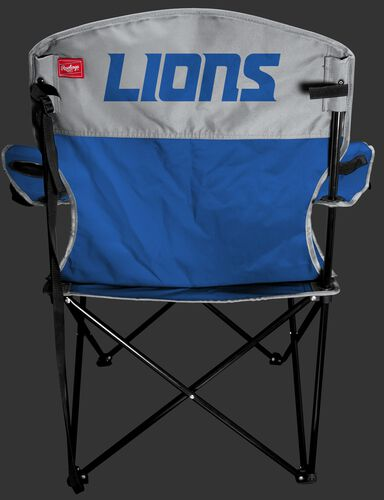 Back of Rawlings Blue and Grey NFL Detroit Lions Lineman Chair With Team Name SKU #31021067111