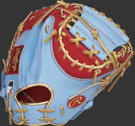 Columbia blue back of an exclusive Yadier Molina pattern catcher's mitt with scarlet trim - SKU: RSGPROYM4SCBG