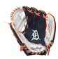 A navy/white Rawlings Detroit Tigers youth glove with the Tigers logo stamped in the palm - SKU: 22000027111 image number null