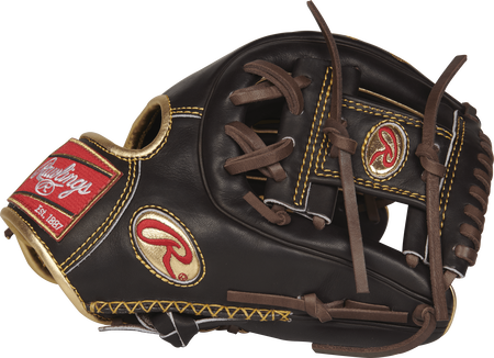 Thumb view of a mocha RGG314-2MO Gold Glove 11.5-inch infield glove with a mocha I web and gold Oval R logo