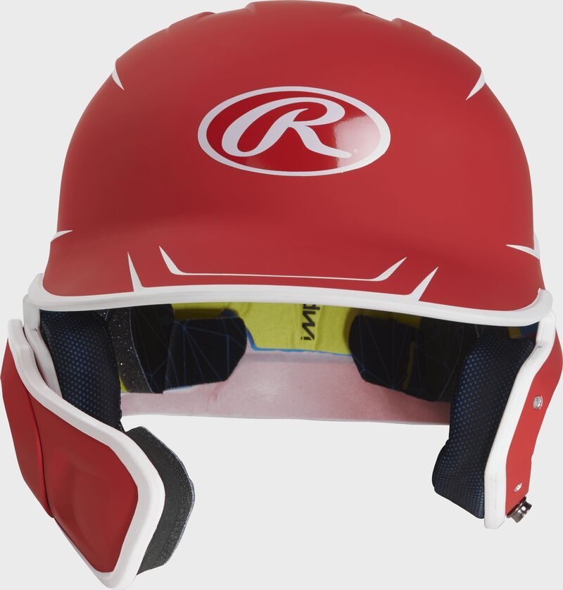 Front of a matte scarlet/white MACHEXTR junior size Mach batting helmet with face guard extension for left hand batters