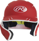 Front of a matte scarlet/white MACHEXTR junior size Mach batting helmet with face guard extension for left hand batters image number null