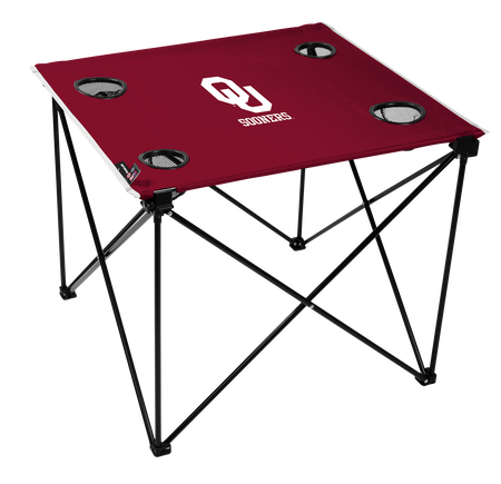 A red NCAA Oklahoma Sooners deluxe tailgate table with four cup holders and team logo printed in the middle