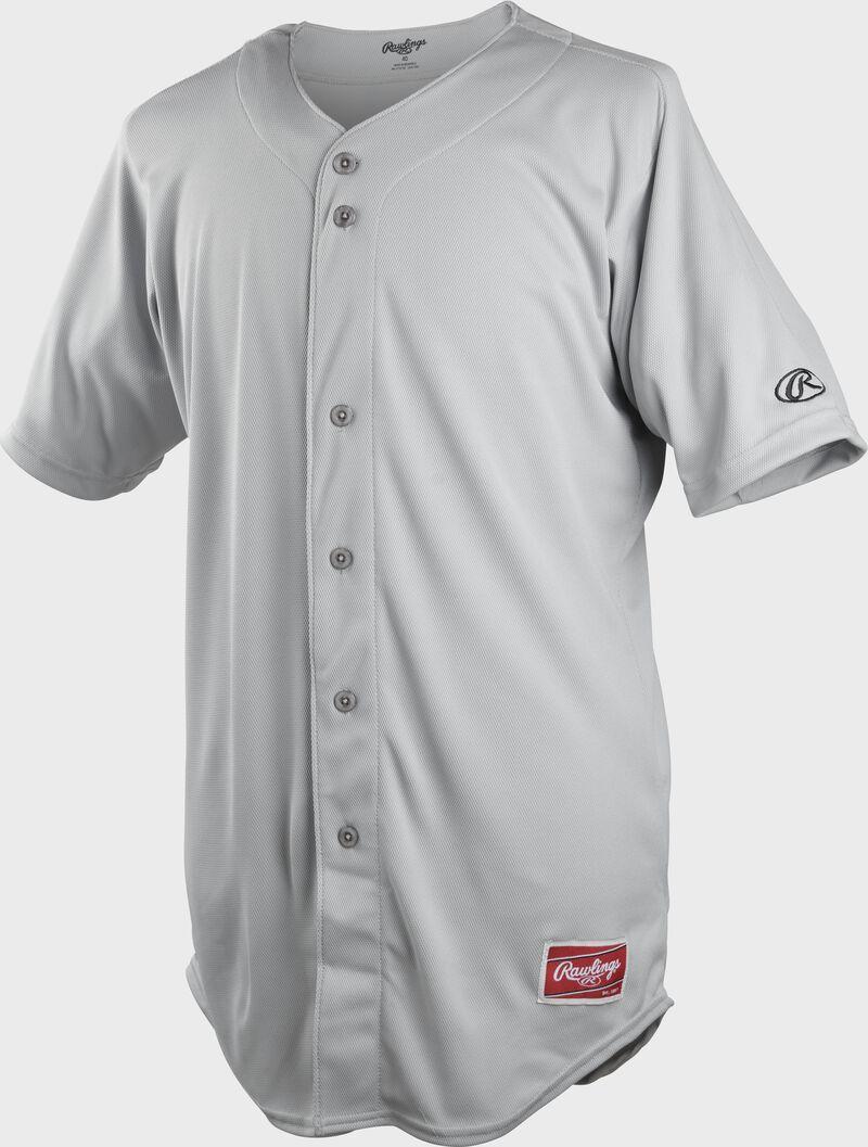 A gray full button-up Rawlings adult short sleeve jersey - SKU: KLR121-GR