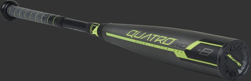 US9Q8 2019 Quatro Pro USA bat with a grey/black barrel and grey/black grip
