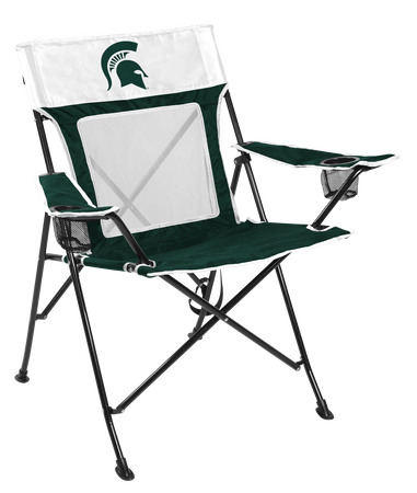 A green/white NCAA Michigan State Spartans Game Changer chair with a team logo on the back
