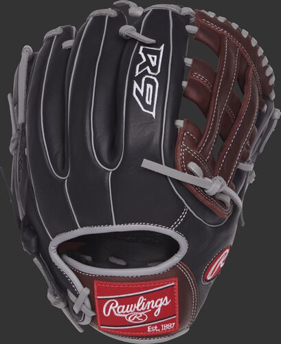R9315-6BSG 11.75-inch R9 Series H web glove with a black back and grey double-welting