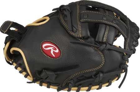 Thumb view of a black RSOCM33BCC Shut Out 33-inch fastpitch catcher's mitt with a black Modified H web