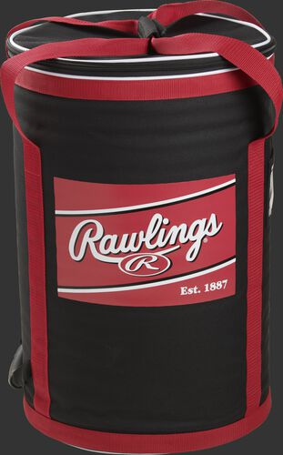 Back of a Rawlings soft sided baseball bag with a Rawlings patch on it and 2 carry handles on the top - SKU: RSSBB-B