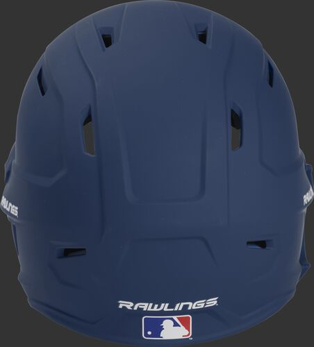 Back of a MACHEXTL high performance adult MACH helmet with a matte navy shell and Official Batting Helmet of MLB logo