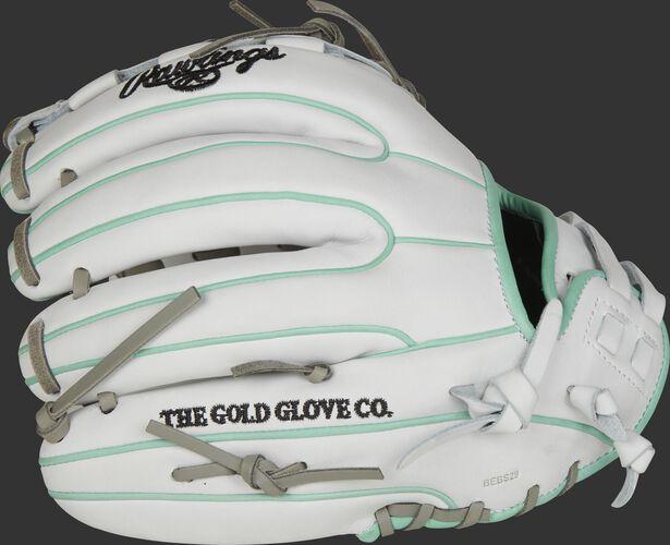 White fingers of a Rawlings HOH softball glove with ocean mint binding/welting - SKU: PRO716SB-18WM