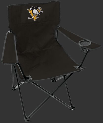 Front of Rawlings Black NHL Pittsburgh Penguins Gameday Elite Chair With Team Logo SKU #00694103111