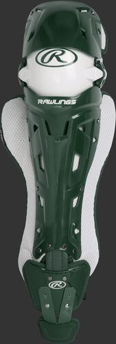 A dark green Mach intermediate leg guard with white trim and intelligent knee position system - SKU: MCHLGI-DG