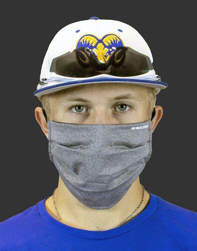 A player wearing a heather gray Performance wear ear loop mask - SKU: RMSKE-HGRY