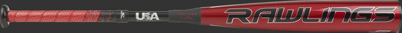 USZQ8 Rawlings USA Quatro Pro bat with a red barrel and red/black grip