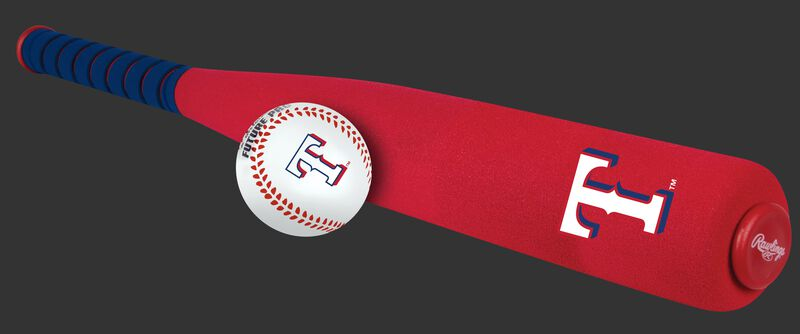 Side of Rawlings Texas Rangers Foam Bat and Ball Set in Team Colors With Team Name and Logo On Front SKU #01860022111