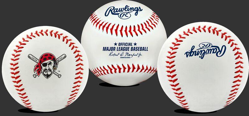 3 views of a MLB Pittsburgh Pirates baseball