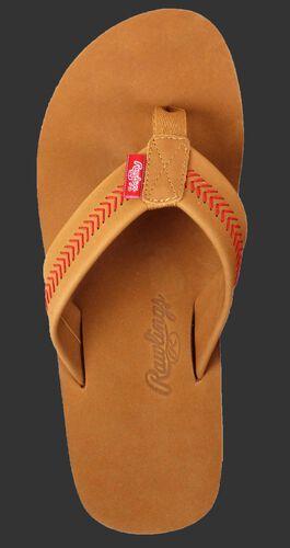 Rawlings Women's Baseball Stitch Nubuck Brown Leather Sandals With Red Baseball Stitch and Brand Name SKU #P-RF50002-101