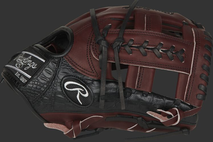 A sherry/black 2020 Heart of the Hide Exclusive Cro 11.5-Inch glove with a sherry laced single-post web - SKU: PROTT2-19SHC