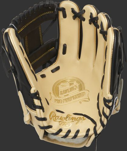 Camel palm of a Pro Preferred infield glove with a black web and laces - SKU: PROS204W-2CBG