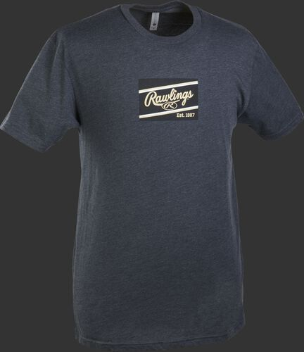 A charcoal Rawlings ColorSync patch short sleeve shirt with a navy/gold patch on the chest