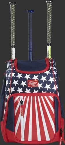 Front view of a USA Rawlings Legion baseball backpack with 3 bats in the back - SKU: LEGION-USA