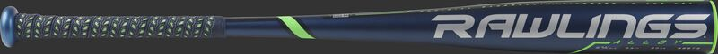 BB9T3 Threat BBCOR High School/College bat with a navy barrel and navy/green batting grip