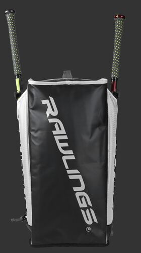 Bottom of a white R601 Hybrid backpack with a white Rawlings logo printed across the bottom