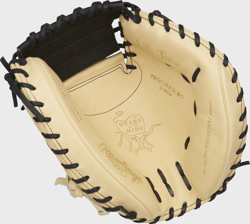 Camel palm of a Rawlings HOH ColorSync 5.0 catcher's mitt with a black web and black laces - SKU: PROCM43CBG