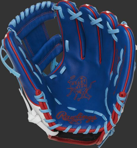 PRO314-2PR Rawlings Heart of the Hide Puerto Rico glove with a royal palm, royal web and columbia blue laces