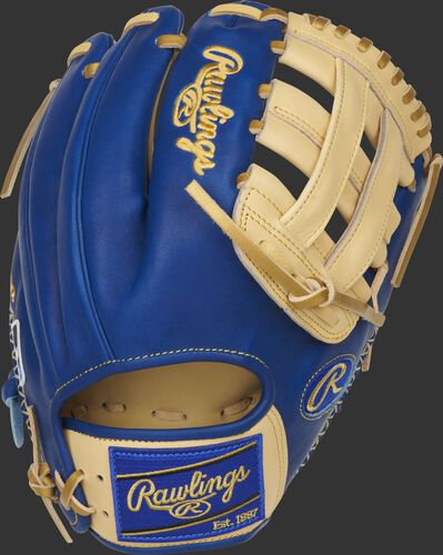 Royal back of a Heart of the Hide ColorSync 5.0 11.75-Inch H-web glove with a royal Rawlings patch - SKU: PRO205-6CRG