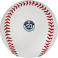 The Milwaukee Brewers 50th anniversary logo stamped on a MLB baseball - SKU: ROMLBMB50 image number null