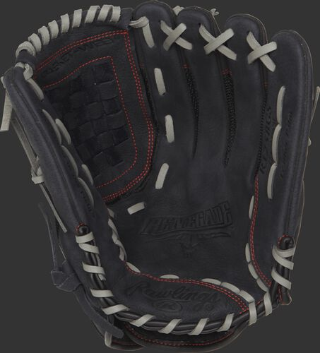 R125BGS 12.5-inch Renegade series slow pitch softball glove with a black palm and grey laces
