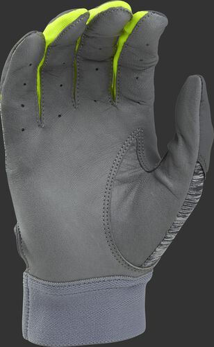 Grey palm of a grey/optic yellow 5150GBGY youth 5150 bating glove