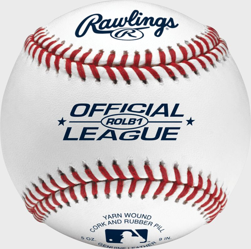 An Official League competition grade baseball with red seams and blue stamping - SKU: ROLB1