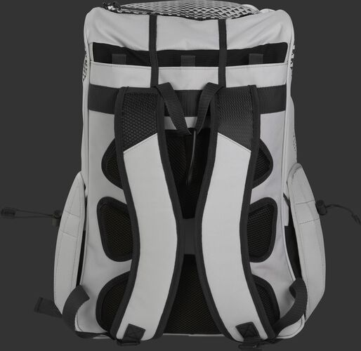 Back of a white/black R800 Rawlings fastpitch backpack with black back padding and white shoulder straps