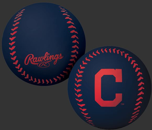 Rawlings Cleveland Indians Big Fly Rubber Bounce Ball With Team Logo on Front In Team Colors SKU #02870014112
