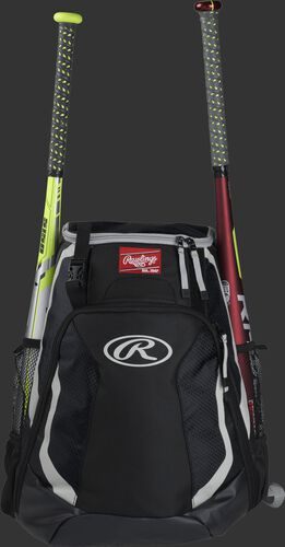 A black R500 Rawlings equipment backpack with a bat on each side