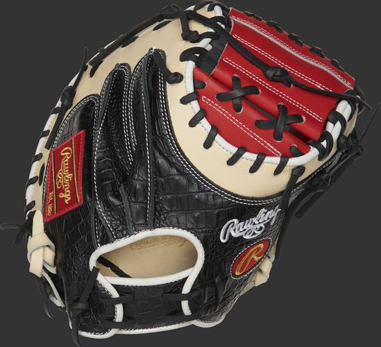 PROYM4SCC 34-inch Yadier Molina pattern Heart of the Hide ColorSync catcher's mitt with a black croc embossed leather back