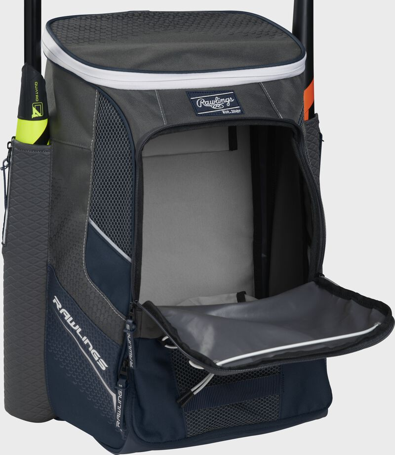 Front of a navy Rawlings Impulse backpack with the main compartment open - SKU: IMPLSE-N