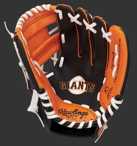 A black/orange Rawlings San Francisco Giants youth glove with a Giants logo stamped in the palm - SKU: 22000013111