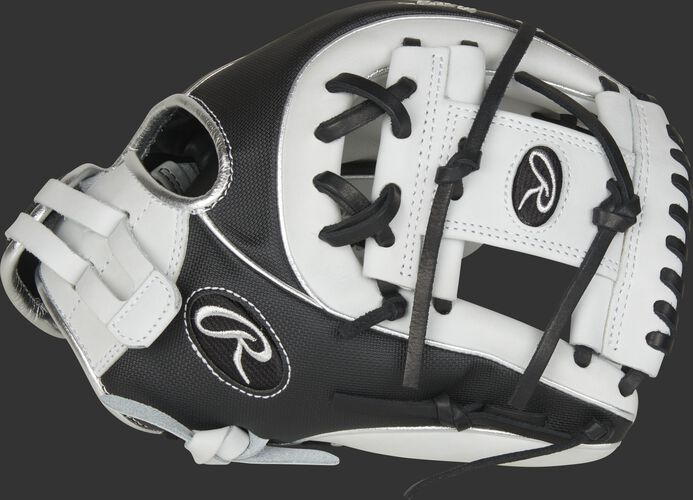 Thumb of a black/white 2021 Heart of the Hide Speed Shell softball glove with a white I-web - SKU: PRO715SB-2WSS