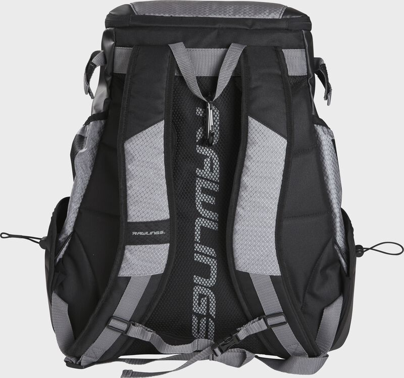 Back of a R1000 Rawlings Gold Glove Series equipment backpack with gray shoulder straps